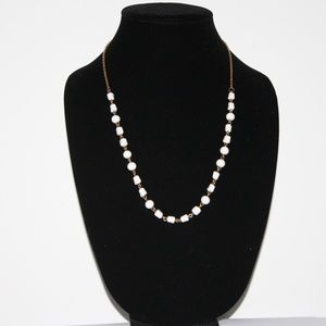 Beautiful gold and white stone beaded necklace